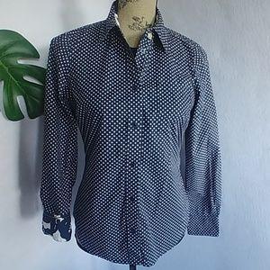 Boden Navy Polka Dot Button L/S Shirt Top